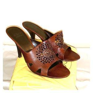 CJkrystal dark brown leather heels